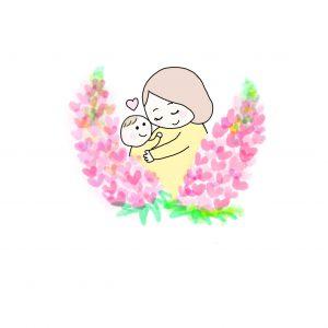 赤ちゃんとルピナス